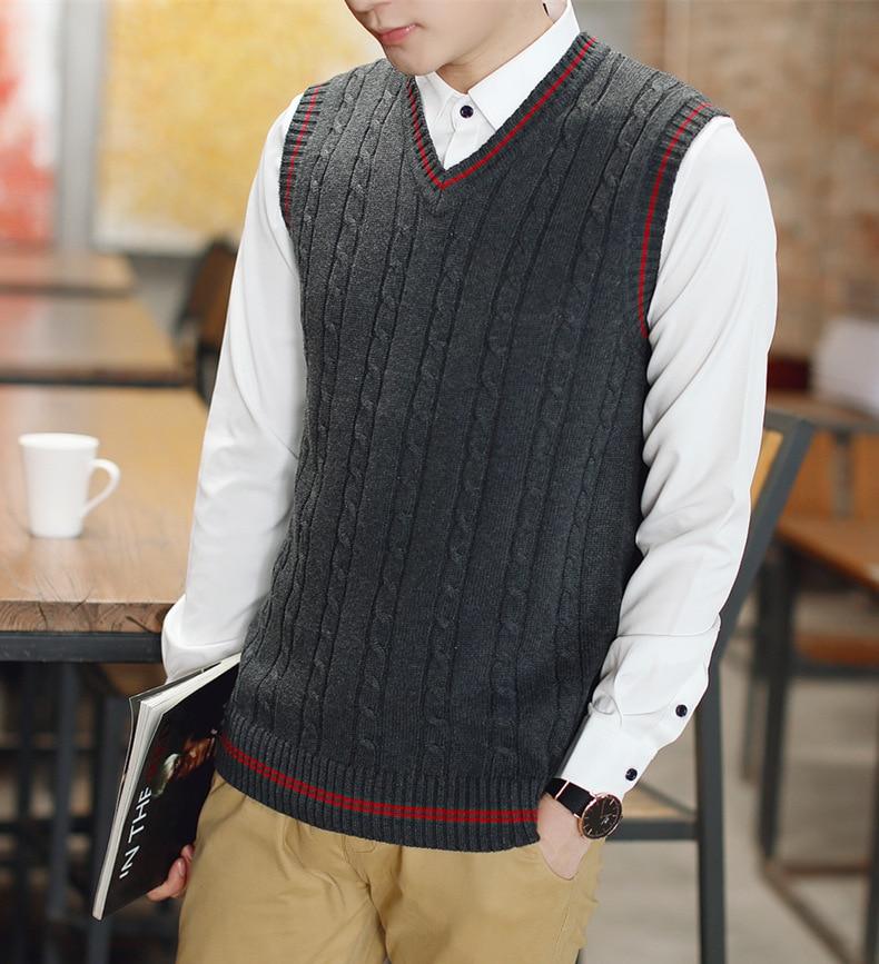 Autumn Winter Men Sweater Knit Vest 100% Cotton Vest 2019 New Classic V-neck Male Sleeveless Sweater Cotton Knitwear Base Top