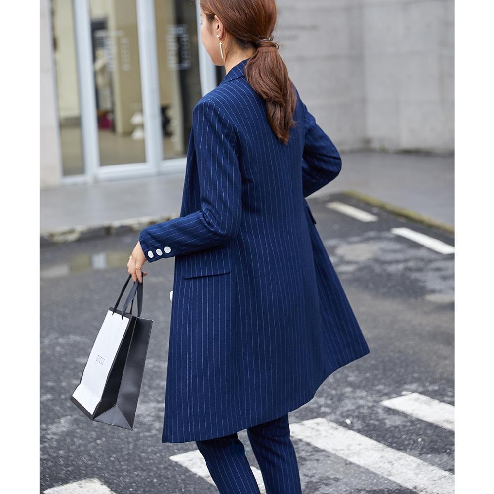 Formal Women Blazer Pant Suit For Office Lady Long Stripe Blazer Suit Sets Black Blue Jacket and Pant 2 Piece Sets - 5