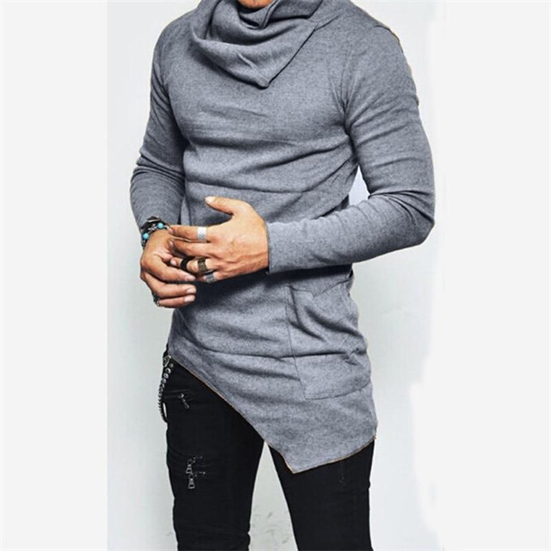 Unbalance Hem Pocket Long Sleeve Hoodies Mens Sportswear Basketball Jerseys Autumn Mens Turtleneck Sweatshirt Tops 5XL