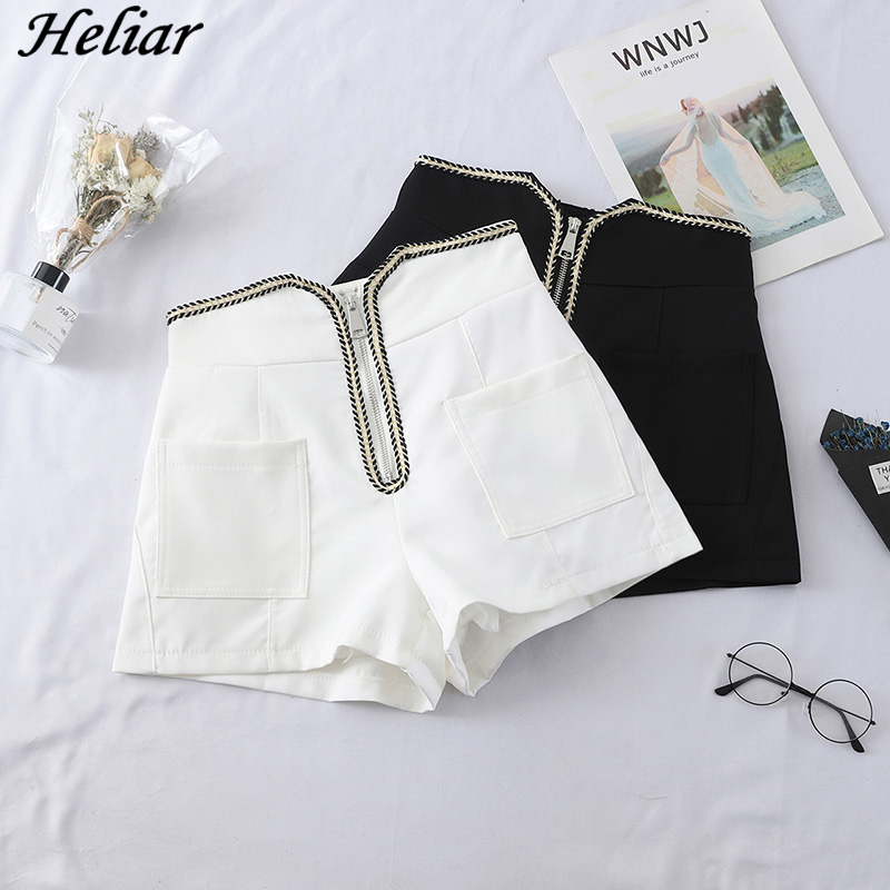 HELIAR 2019 Spring Women Shorts High Waist Casual White/Black Sexy Hot Shorts Summer Casual Zipper Shorts With Thread Edge