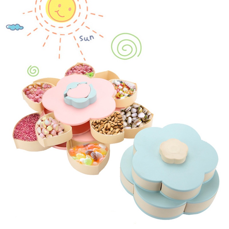 Fruit Plate Divided Home Nuts Storage Mobile Phone Holder Flower Petals Shape Snack Bowl Rotating Candy Box Serving Tray
