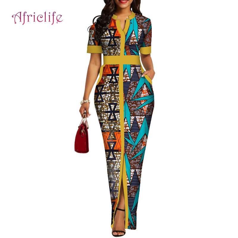 WY4424 Factory Price High Quality Summer V Necklace Women Long Dress Slim African Clothes For Women Short Sleeve Skirt Clothes