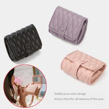 Mini beauty bag Womens Fashion Solid Color Convenient Cosmetic Bag Lipstick Case with clear and not deformed Mirror(China)