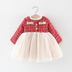 Платье принцессы с длинными рукавами для маленьких девочек Одежда для новорожденных девочек вечерние платья на день рождения для 1 года оде...