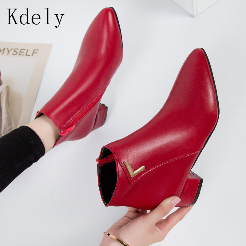 2019 Fashion Women Boots Casual Leather Low High Heels Spring Shoes Woman Pointed Toe Rubber Ankle Boots Black Red Zapatos Mujer