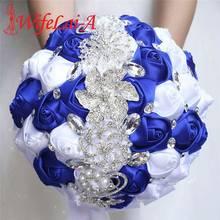 WifeLai 21cm גדול קריסטל כלה חתונה זר בעבודת יד רויאל כחול לבן סרט עלה חתונה זרי כלה Buque noiva W228