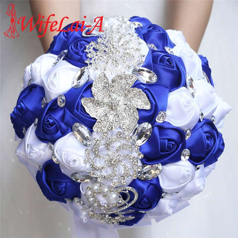 WifeLai-A 21CM Big Crystal Bridal Wedding Bouquet Handmade Royal Blue White RIbbon Rose Wedding Bridal Bouquets Buque Noiva W228