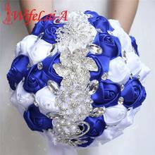 WifeLai A 21cm Big Crystal Bridal Wedding Bouquet Handmade Royal Blue White RIbbon Rose Wedding Bridal Bouquets Buque Noiva W228