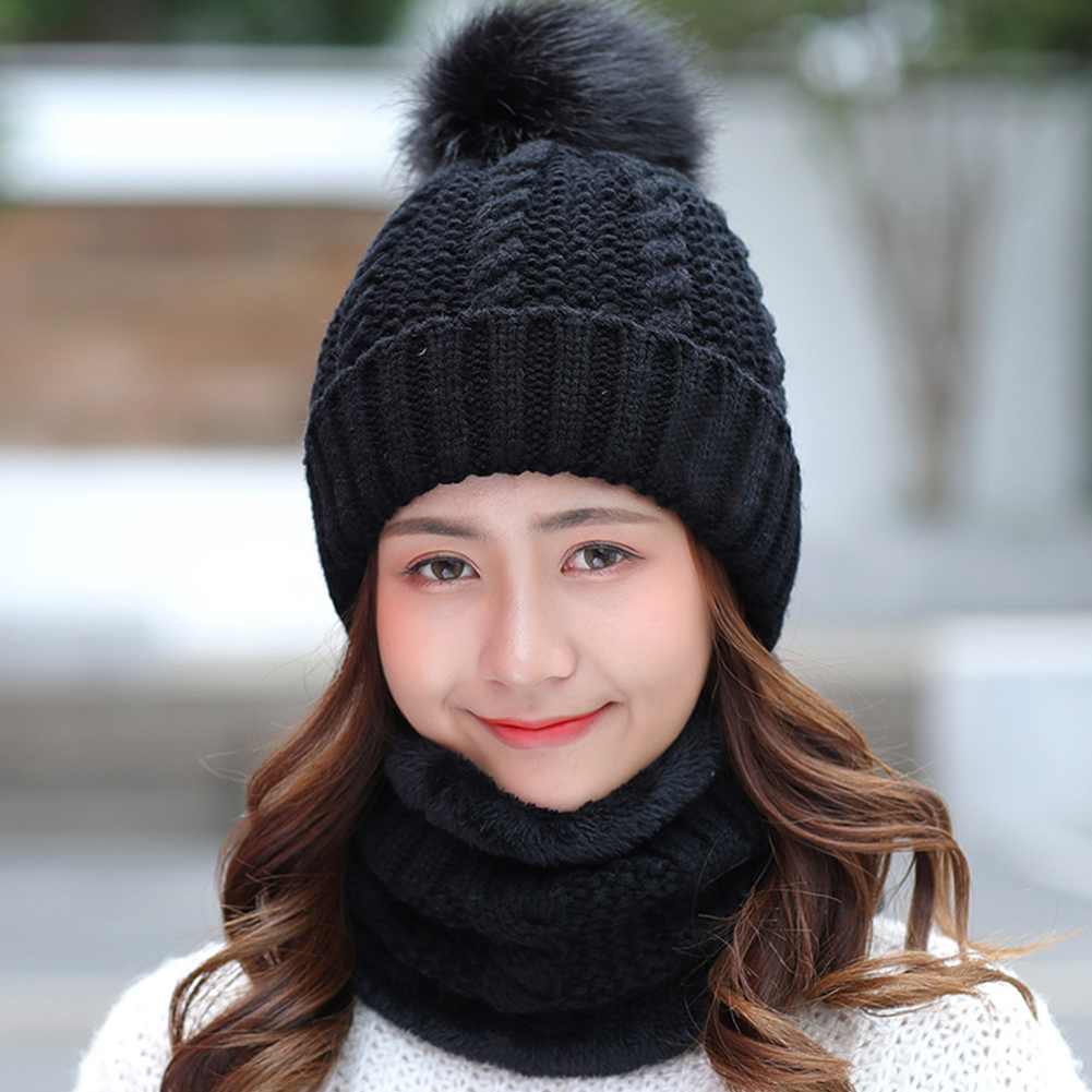 Women Ski Cap Faux Fur Home Keep Warm Hat Scarf Set Beanie Winter Shopping Soft Fleece Slouchy Baggy Knitting