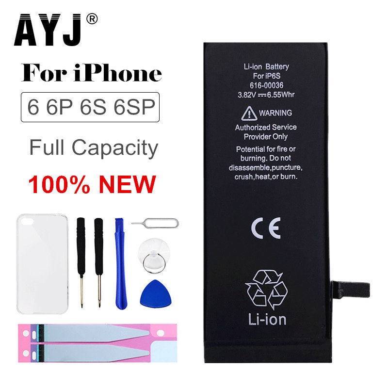 AYJ Original <font><b>Battery</b></font> For <font><b>iPhone</b></font> 6 6G <font><b>6S</b></font> Plus <font><b>Battery</b></font> Replacement Real <font><b>High</b></font> <font><b>Capacity</b></font> Mobile Phone Bateria Case Tools Kit 0 cycle image
