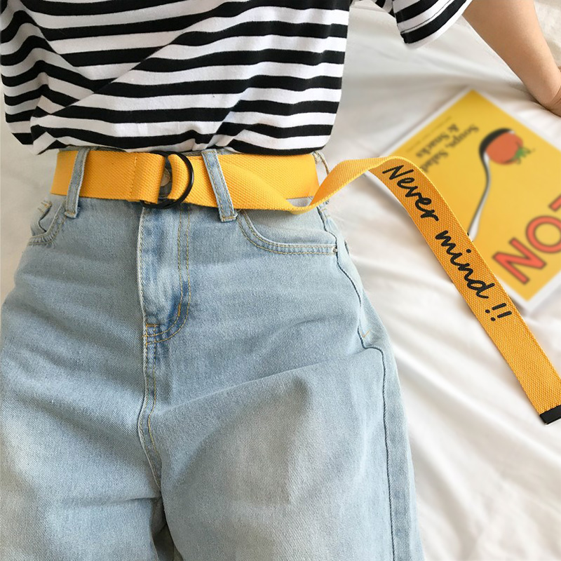 Multiple Color Canvas Belt For Men Women Jeans English Alphabet Personality Double Ring Buckle Belt White Waistband Z30