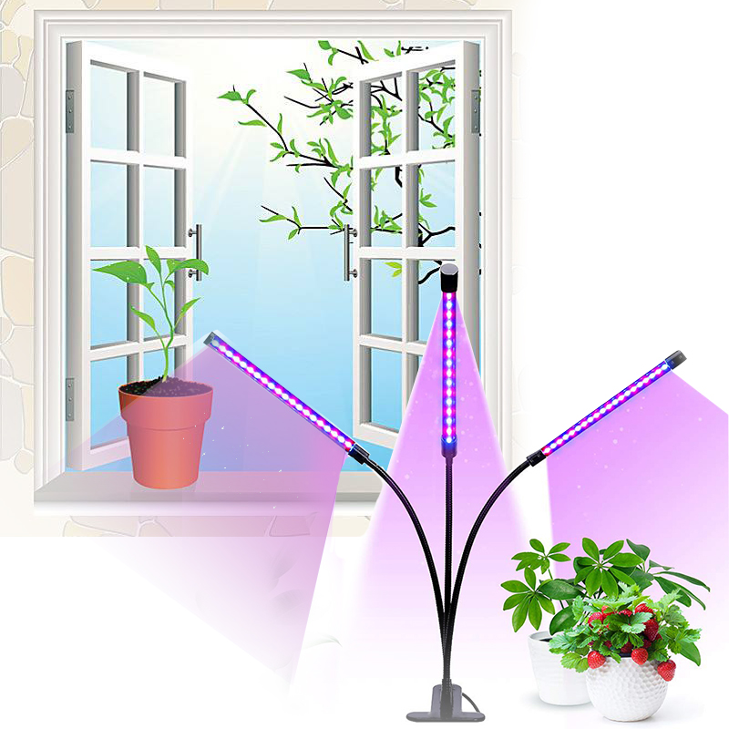 Led Grow Light 27W There Lights Timer Full Spectrum Phyto Lamp For Plants Clip-On Desk For Indoor Plant Seedlings Flowers Care