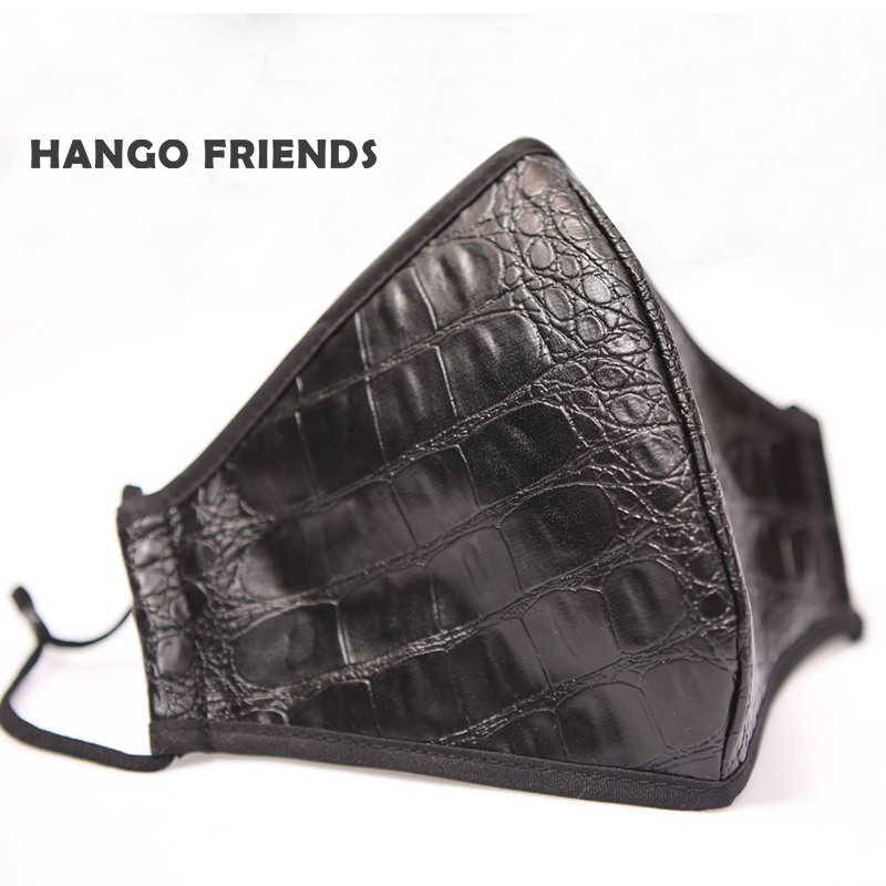 Hango Protective Mask Reusable Washable Facemask with Filter Pocket Imitation Leather Face Mask Cotton Black Dust Mask Man Woman