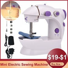 Mini Sewing Machines Portable Electric Hand Household Mending Night Light Cutter Foot Pedal Two Thread To Sew Adjustable Speed