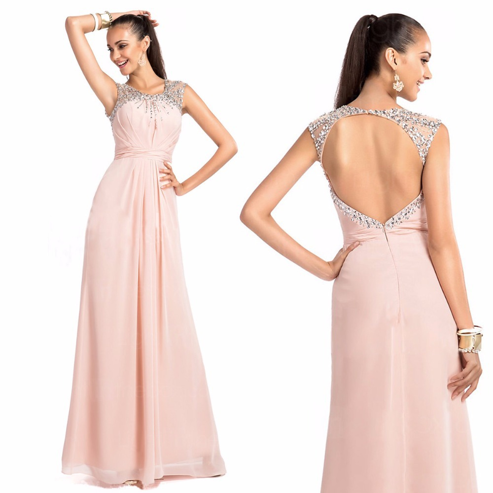 New Arrival Crystal Beaded Sexy Backless Pink Chiffon Long Formal Prom Gown Vestido De Festa Vestido Longo Bridesmaid Dresses