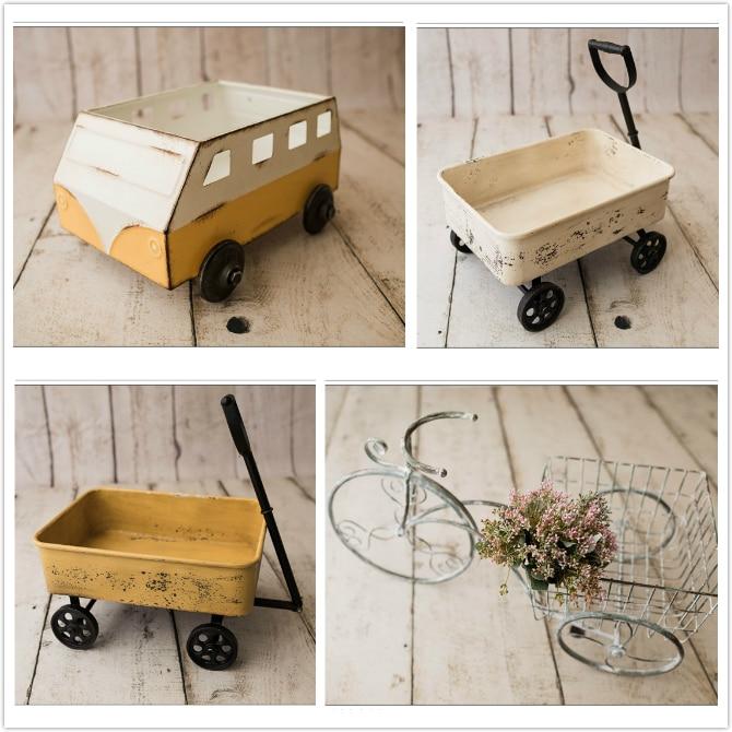 Новорожденный ребенок Фотография маленькая тележка мини-трицикл реквизит стрельба Контейнер украшения ребенок Фотография автомобиль