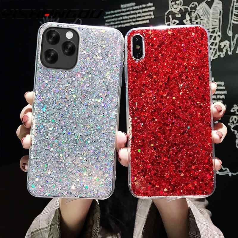 YISAHNGOU Case For iPhone 11 Pro Max 2019 XR XS MAX X 10 8 7 6 s Plus Bling Glitter Soft TPU Slilicon Shockproof Back Case Cover