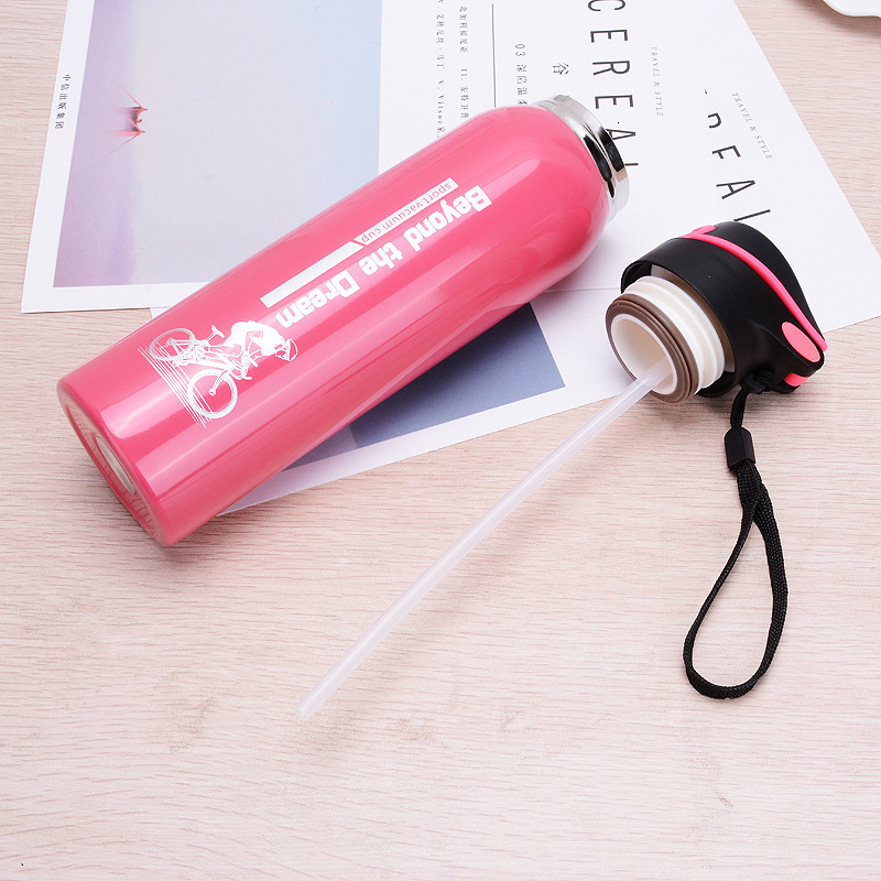 H333bcb8c1b8a4f33a556e18b8a455f57g 500ML Sport thermos water bottle Thermo Mug Stainless Steel Vacuum Flask mug with straw Insulation Cup Thermoses tthermal bottl