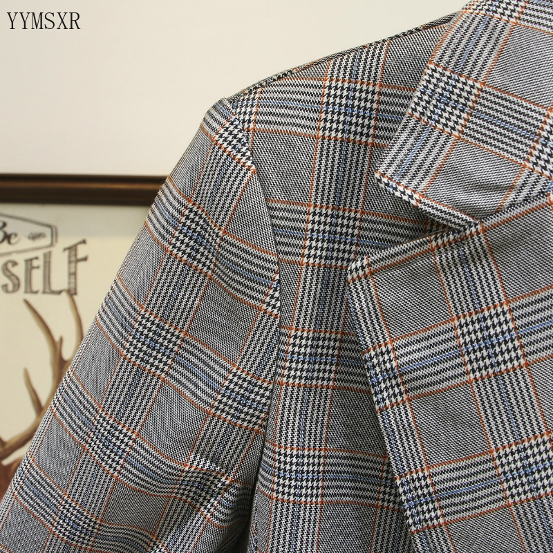 High quality women's plaid small suit feminine jacket 2020 Korean style new fashionable ladies blazer coat Mid-length jacket