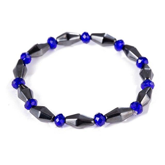 Magnetic Bracelets For Women Weight Loss Round Black Stone Therapy magnet Bracelet Men Health Bracelet Care Hematite Stretch 5