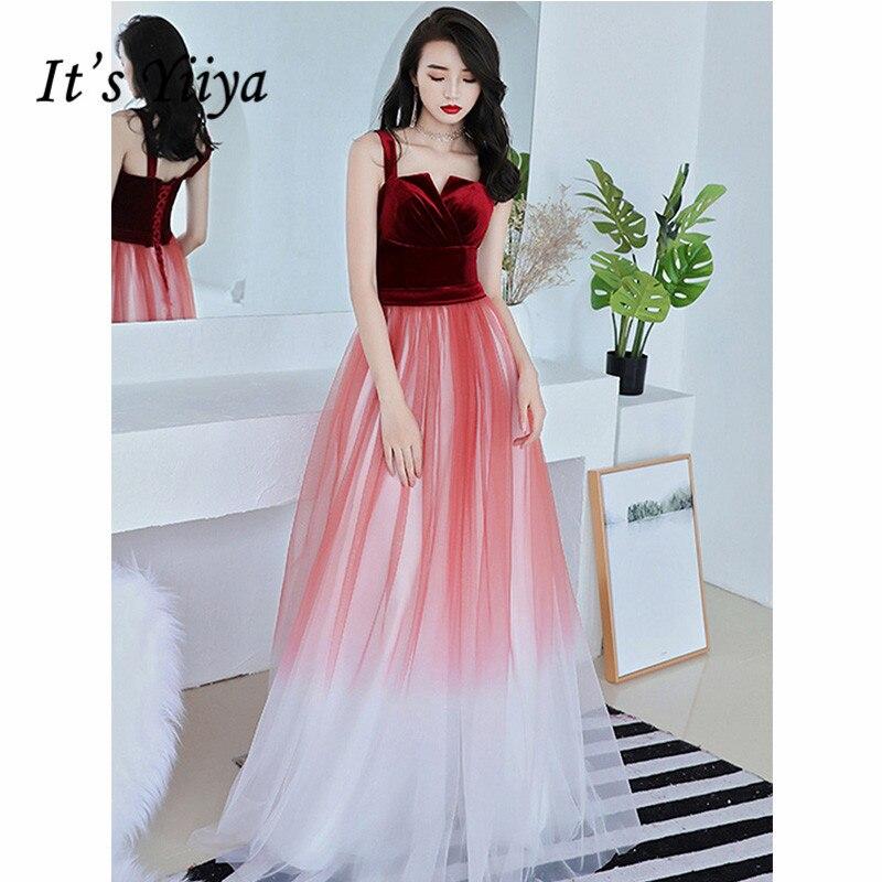 It's Yiiya Evening Dress 2019 Contrast Color Boat Neck A-Line Dress Elegant Spaghetti Strap Party Robe De Soiree Plus Size E1302