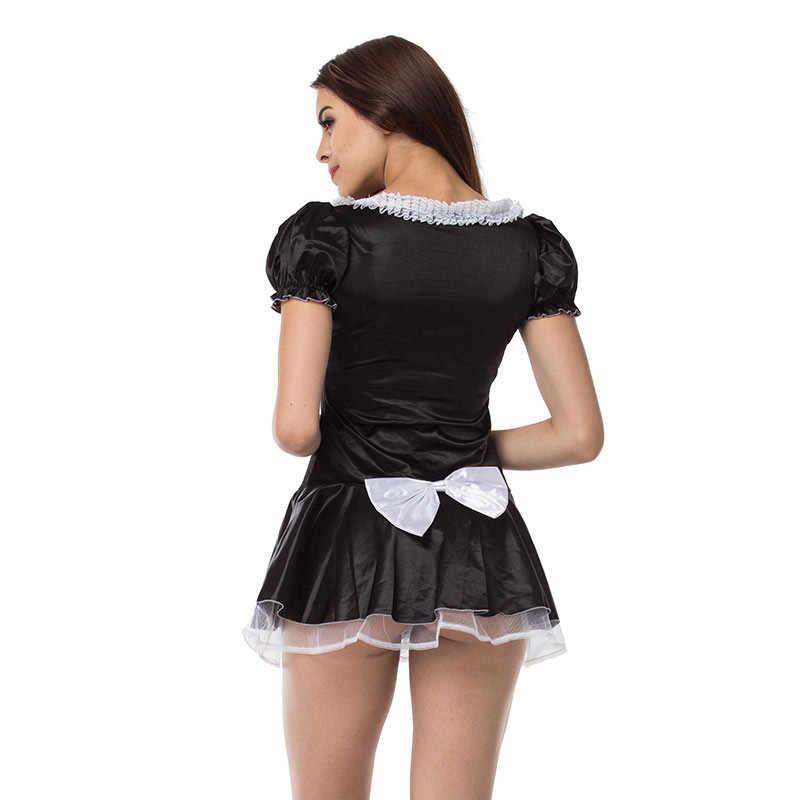 Seksi Geç Gece Fransız Hizmetçi Egzotik Hizmetçi Kostüm Cadılar Bayramı Partisi Babydoll Cosplay Elbise