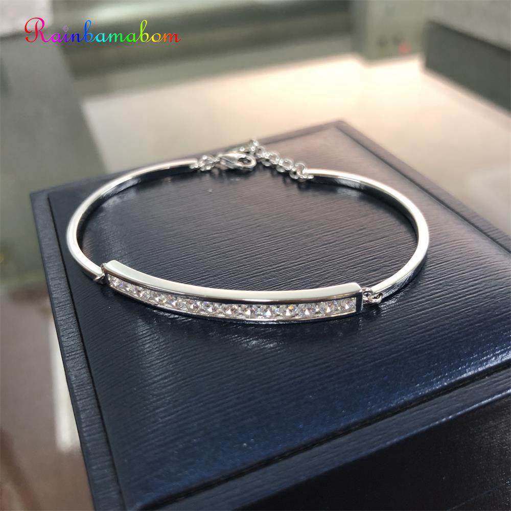 Rainbamabom à la mode 925 solide en argent Sterling créé Moissanite pierres précieuses bracelet breloque femmes Bracelets Fine bijoux en gros