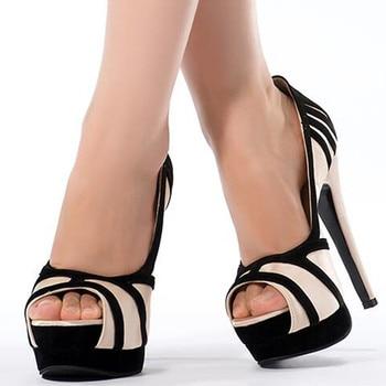 LanLoJer Shoes,Sexy High Heels Party Pumps Women Shoes High Heel Platform Wedding ,14.5 cm High-heeled Peep Toe Pumps