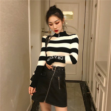 Pullover Women Turtleneck Sweater Thick Striped Letter Slim Sweaters and Pullovers