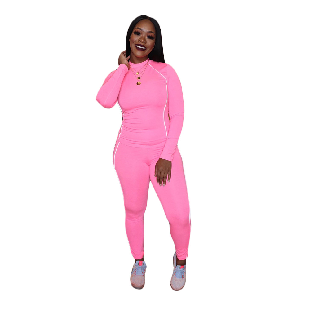 European and American women's casual sports solid color stitching long-sleeved pullover trousers suit women