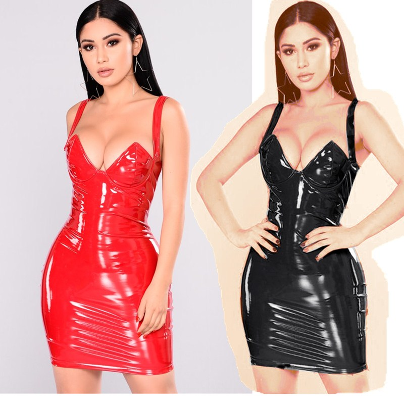 Plus Size Women <font><b>Dresses</b></font> <font><b>6XL</b></font> <font><b>Sexy</b></font> Bra Style PVC Wet Look Mini <font><b>Dress</b></font> Sleeveless Leather Kim Kardashian Bodycon Clubwear <font><b>Dress</b></font> image