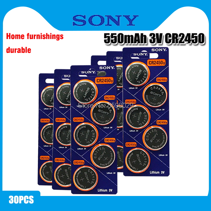 30pcs Original Sony CR2450 Button <font><b>Battery</b></font> 5029LC BR2450 BR2450-1W <font><b>CR2450N</b></font> ECR2450 DL2450 KCR2450 LM2450 For Watch Toy Remote image
