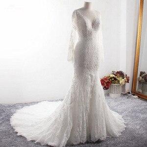 Image 2 - LZ369 Yiai Ivory Nice Lace Pearls Wedding Dress Long Sleeve Mermaid Dress Sexy Side Split Long Beach Dress