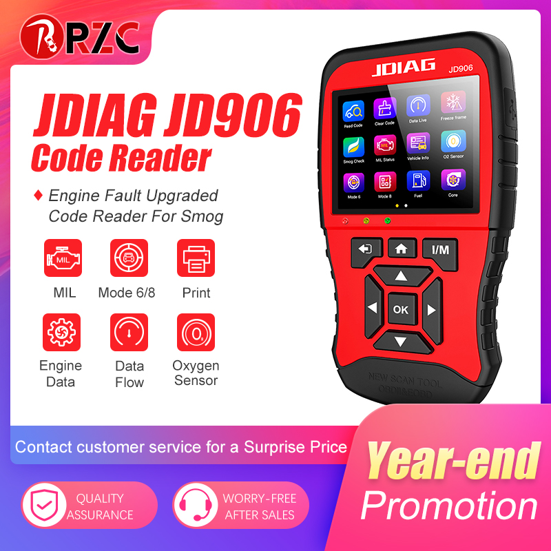 OBD2 Code Reader JDiag JD906 Enhanced Mode 6 Mode 8 Engine Fault Code Reader For Smog Upgraded Code Reader title=