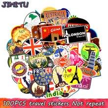 Autocollants de voyage, 100 pièces, Graffiti de construction rétro imperméable, étiquette de voyage du monde à bricolage, valise, ordinateur portable, réfrigérateur et vélo