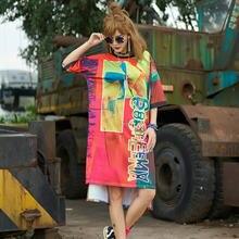 Vestido holgado de talla grande de manga corta para Mujer, Vestido Largo informal, ropa informal estilo Hip Hop 2020