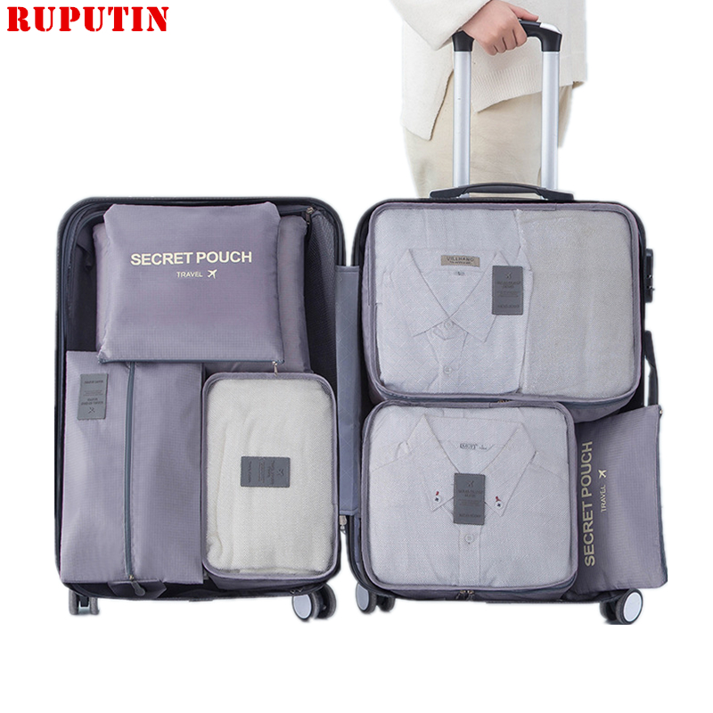 New 7PCS/Set Travel Mesh Bags Luggage Organizer Clothes Finishing Kit Cosmetic Bag Makeup Bag Home Shoes Underwear Storage Bag