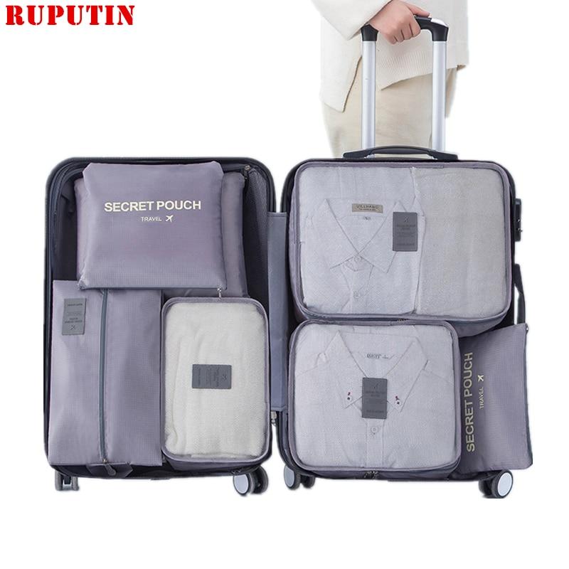 New 7PCS/Set Travel Mesh Bags Luggage Organizer Clothes Finishing Kit Cosmetic Bag Makeup Bag Home Shoes Underwear Storage Bag