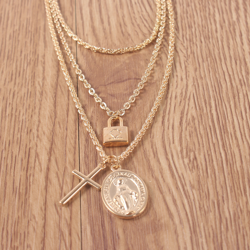 Vintage Gold Color Cross Jesus Pendant Necklace for Women Coin Lock Choker Necklace Statement Chocker Collier Collar New