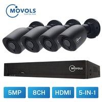MOVOLS 5MP Video Surveillance kit H.264+ 8ch DVR 4PCS CCTV Camera Security System IR Surveillance Outdoor Waterproof Camera kit