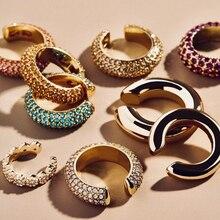 В богемном стиле с украшением в виде кристаллов кафф в виде капель с кристаллами в форме Для женщин многоцветный C-Форма не пирсинг небольшие серьги Свадебные ухо клип, ювелирные изделия в качестве подарка
