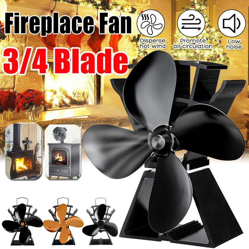 Stove Fan 3/4 Blade Fireplace Fan Heat Powered Komin Wood Burner Eco Fan Friendly Quiet Home Efficient Heat Distribution