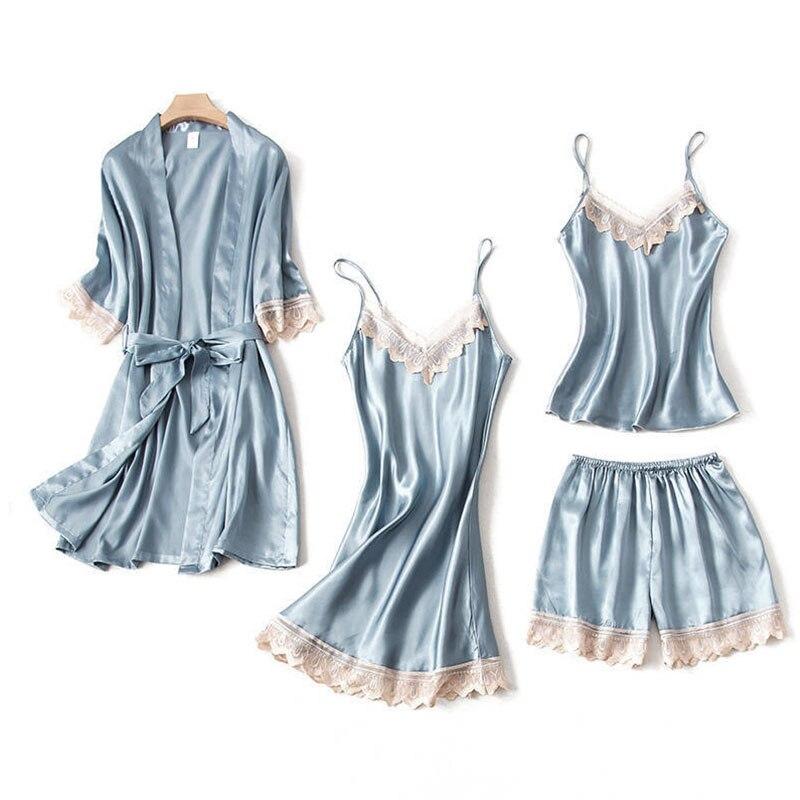 Conmoto Spaghetti Strap Satin Nightdress Underwear Casual Sleepwear Wrap Patchwork Blue Sleepwears Pajamas Nightgown Plus Size