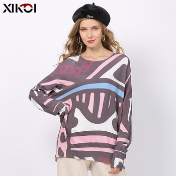 XIKOI New Retro Print Sweaters For Women Winter Warm Long Sleeves Pullovers Oversized Bohemian Style Jumper Tops Pull Femme
