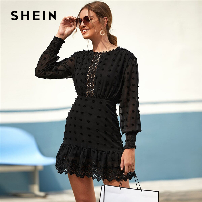 SHEIN Black Swiss Dot Guipure Lace Hem Fitted Chiffon Dress Women Spring High Waist Bishop Sleeve Elegant Shirred Short Dresses 1