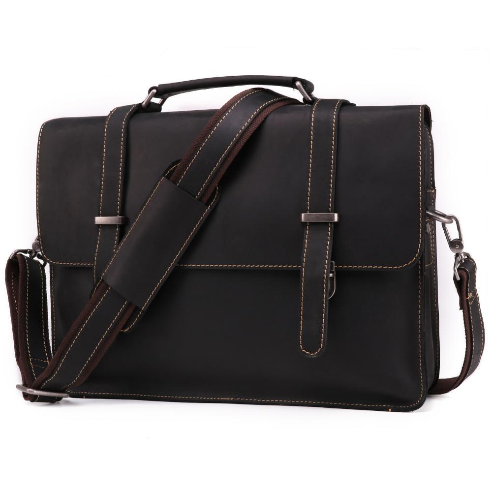 Crazy Horse Leather Retro Men's Genuine Leather Bag Briefcase Fashion Men's Handbag Quality Cross Section Shoulder Computer Bag