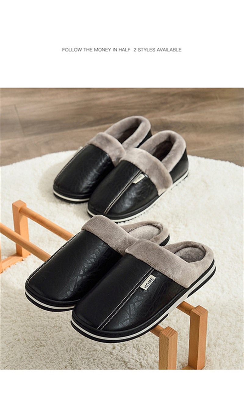 H333d4e878e8d44819dc5d9be474508e8e - ASIFN Men's slippers Winter slippers Non slip Indoor Shoes men leather Big size House shoe Waterproof Warm Memory Foam Slipper