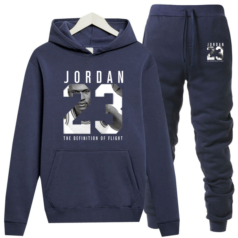 New Mens Hoodies Suit Fleece Warm Jordan 23 Tracksuit Men Sweatshirt Suit Hoodie+sweat Pants Jogging  Hooded Tracksuit толстовка