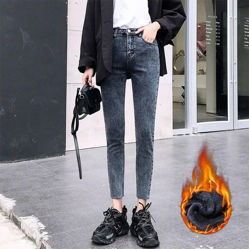 Зимние теплые женские джинсы с высокой талией, повседневные Бархатные женские брюки, обтягивающие женские джинсы, женские брюки, большие ра...