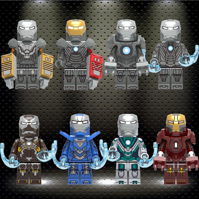 Building Blocks Super Heroes Bricks Iron Man Tony Stark Mark 24 Mark 29 Mark 30 Figures Toys Gift For Children X0253